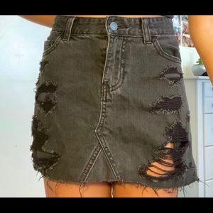 black distressed denim high waisted skirt